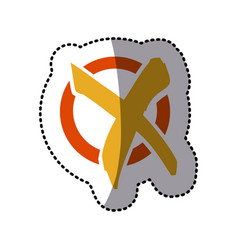 orange and yellow symbol round with wrong mark vector image