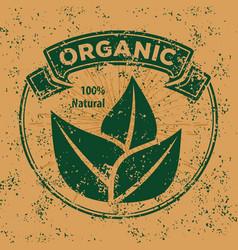 organic natural product grunge vintage logo vector image