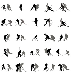 Players in hockey on the grass silhouette set vector image