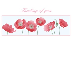 Poppies thinking of you card vector