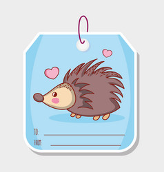 Porcupine cute animal label tag vector