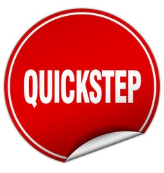 Quickstep round red sticker isolated on white vector