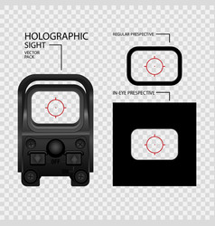 Realistic holographic sight scope with vector
