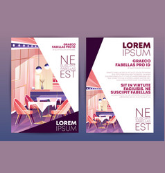 Restaurant promo poster carton template vector