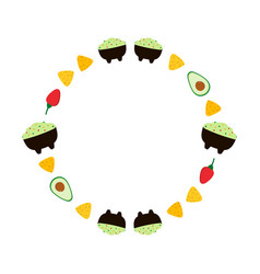 Round frame with guacamole and vegetables vector