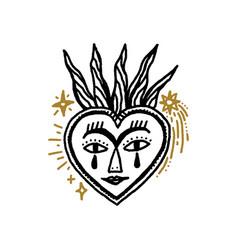 Sacred heart boho magical vintage distressed art vector