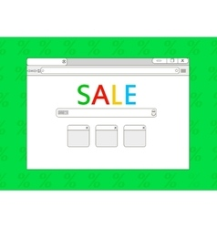 Sale browser window on green background vector