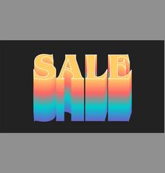 Sale rainbow gradient effect on dark background vector