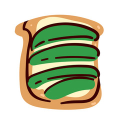 sandwich bread butter and avocado slices vector image