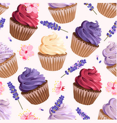 Seamless cupcakes and flowers vector