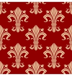 Seamless fleur-de-lis pattern on red background vector