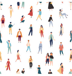 seamless pattern with people in fashionable vector image