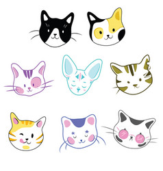 set cats a collection cartoon kittens vector image
