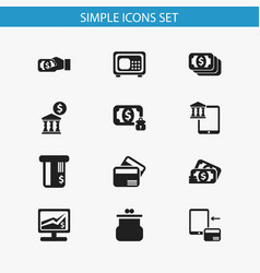 Set of 12 editable finance icons includes symbols vector