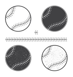 Set of baseball icon and seam vector