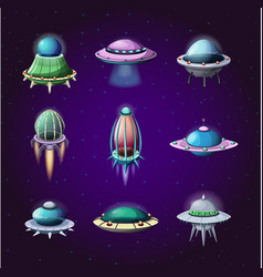Set of cartoon rockets and alien spaceships vector