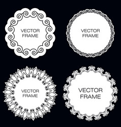 Set of four white frame on black background vector
