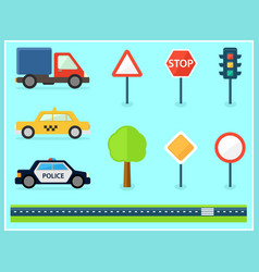 set of isolated flat transport icons vector image