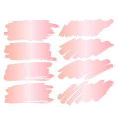 set of pink gold grunge brush strokes vector image