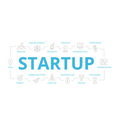 set of startup and business thin line vector image