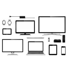 set realistic tv computer monitor laptops vector image
