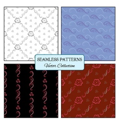 set seamless pattern curl and flowers vector image