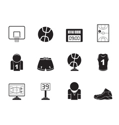 Silhouette Basketball and sport icons vector