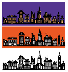 silhouette of stylized facades of buildings vector image