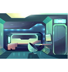 Spacecraft crew member cabin interior vector