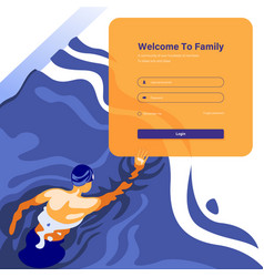 Swimming club login concept vector