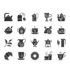 Tea black silhouette icons set vector