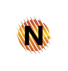 technology letter n vector image