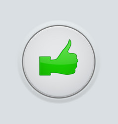 Thumb up green button user interface round icon vector
