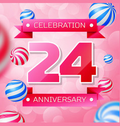 twenty four years anniversary celebration design vector image