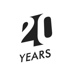 twenty years emblem template anniversary vector image