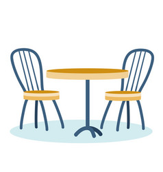 Two chairs and a table for a cafe or restaurant vector
