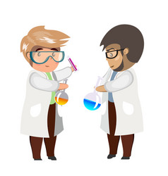Two man chemist with test tubes and flasks glass vector