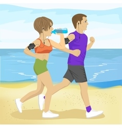 Two young people jogging on beach drinking water vector