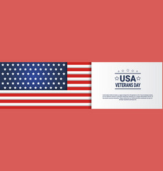 usa veterans day horizontal banner with united vector image