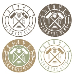 Vintage grunge labels set of croquet country club vector