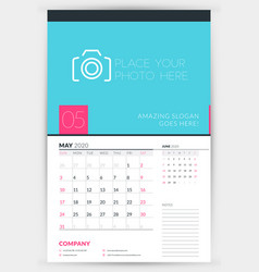Wall calendar planner template for may 2020 week vector