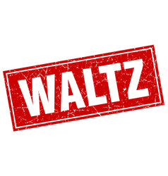 Waltz red square grunge stamp on white vector