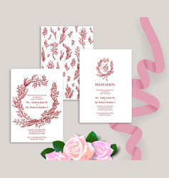 wedding stationery cards concept vector image