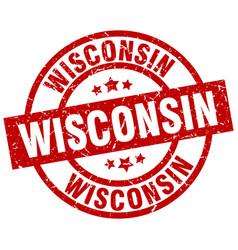 Wisconsin red round grunge stamp vector