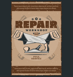 Work tools and house repair equipment retro poster vector