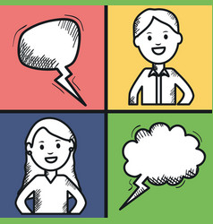 Young couple with speech bubbles vector