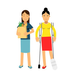 young woman with leg in a plaster using crutches vector image