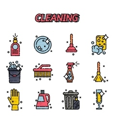 Cleaning flat icons set vector image