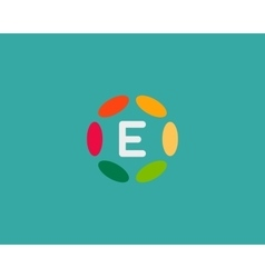Color letter e logo icon design hub frame vector