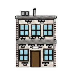 drawing house two sotry windows chimney image vector image vector image